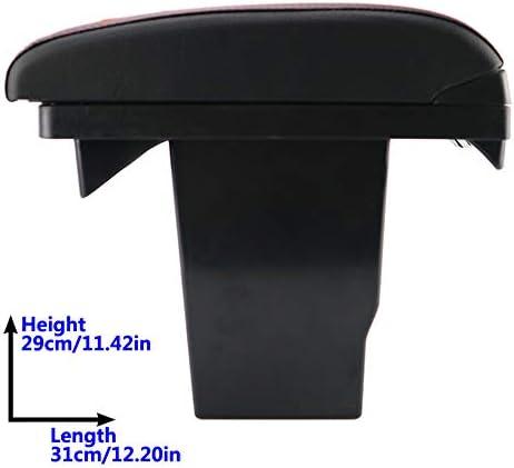 Double couche Cuir Noir Accoudoir pour 2008/Console Centrale Bo/îte de rangement Accoudoir