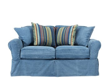 Cindy Crawford Blue Denim Loveseat