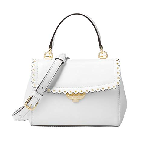 58484332dc5c Michael Kors Ava Scalloped Extra-Small Text Polished Leather Crossbody Bag