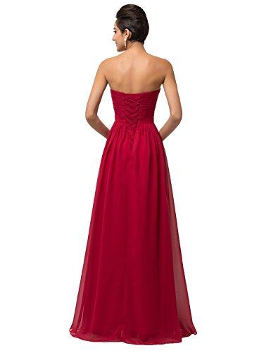 Soire Ceremonie Robe Maxi Femme sans KARIN Manche Robe Robe de Cocktail de Bustier GRACE Fonce Rouge w8FBx4nq