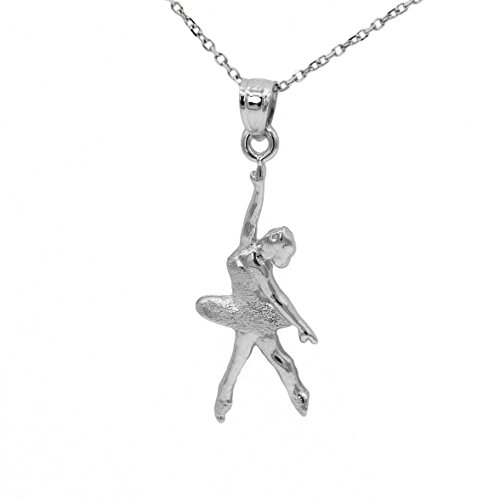 Ice on Fire Jewelry 14k White Gold Ballerina Pendant Necklace (20