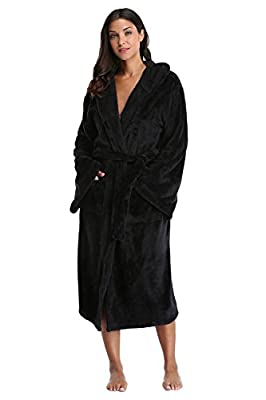 Kimono Outlet Unisex Long Hooded Bathrobe Plush