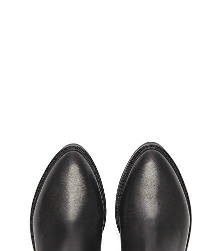 PoiLei Lexia - chaussure femme / bottines façon chelsea en cuir - avec bout pointu et semelle épaisse en caoutchouc cranté / ultra-confortables noir