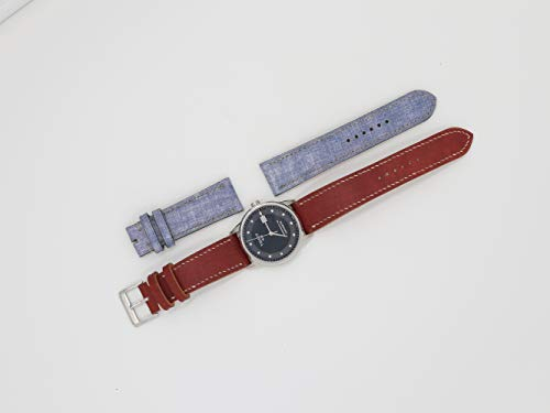 (Handmade Navy Cowhide watch strap leather with White Stitching- Padded watch strap - Size 20mm at Lugs and 18mm at Buckle)