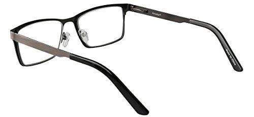 Eyecedar 5-Pack Reading Glasses Men Rectangle Frame Metal Grey Stainless Steel Material Spring Hinges Readers 2.50 by eyecedar (Image #2)
