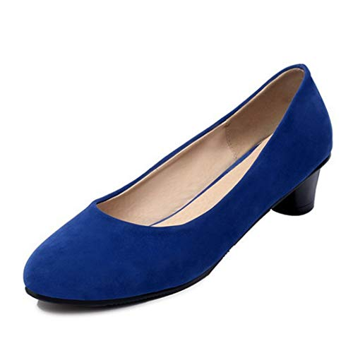 Women's Mid Heel Loafers Oxford Shoes Slip-On Comfort Pointed Toe Classic Pump Dress Shoes Blue
