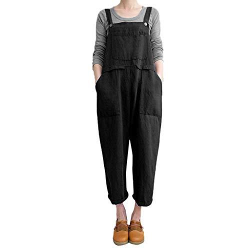 (SSYUNO Women Sleeveless Dungarees Baggy Wide Leg Loose Cotton Linen Harem Pants Long Playsuit Party Jumpsuit)
