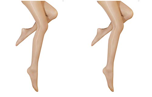 Pantyhose Sheer Stretch - Kffyeye 8D Women's Control Top Thickness Stockings Pantyhose, Ultra Shimmery Stretch Plus Footed Tights(0812, 2pcs Beige)