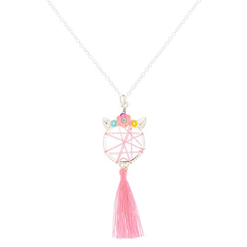Claire's Girl's Unicorn Dreamcatcher Pendant Necklace - Pink