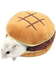 Urisgo Liten djurssäng hamster, hamburgerform, husdjurssäng, varm plysch gosig grotta, söt plysch hamster bo säng, hamster tillbehör, 9 x 8 x 4 cm