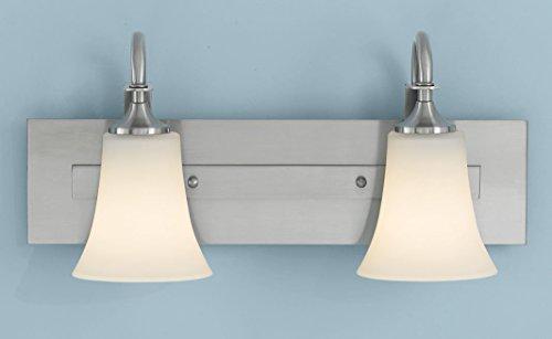 Feiss VS12702-BS Barrington Glass Wall Vanity Bath Lighting, Satin Nickel, 2-Light (18