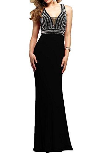 La_mia Braut Damen Lang Chiffon Sommer Abendkleider Brautmutterkleider Festlichkleider mit Perlen V-ausschnitt Schwarz 2ChRF