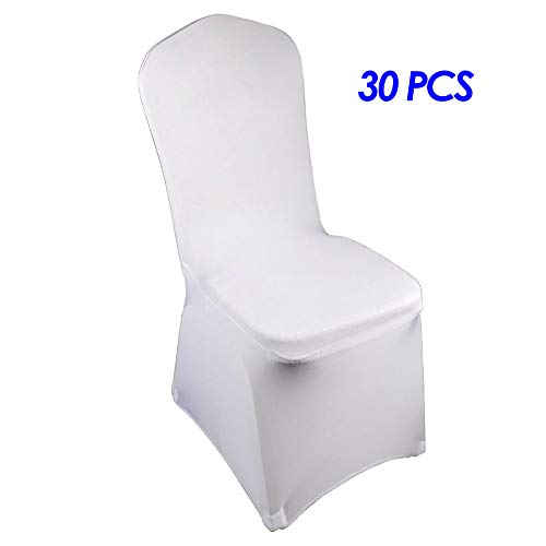Cozy Corners Set of 30pcs Universal Polyester Spandex Chair Covers, Stretchy slipcovers Folding Chair Covers for Banquet Wedding Dining Anniversary Party Home Decorations (White, 30pcs) ()