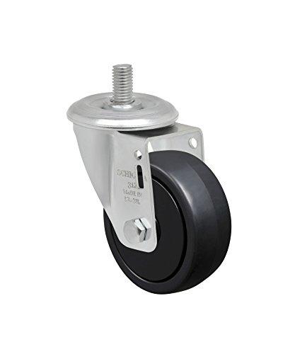 Schioppa L12 Series, GLEFD 312 NPP, 3 x 1-1/4'' Swivel Caster, Non-Marking Polypropylene Wheel, 150 lbs, 10 mm Diameter x 25 mm Length Threaded Stem by Schioppa (Image #1)