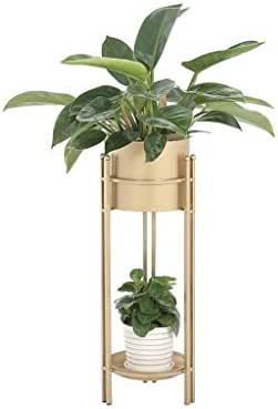 Yxsd 2 Tier Flower Stand Metal Living Room Balcony Plant Pot Rack Shelf Planter Decoration Display Holder Floor Support Indoor Outdoor Bonsai Succulents Iron Art (Color Golden) (Size : M)