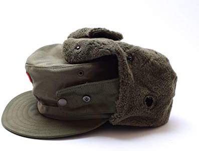 Genuine Austrian Army Military Winter Cap Olive O.D Insignia Badge hat NEW