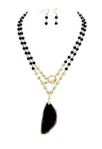 (Rosemarie Collections Women's Natural Stone Pendant Multi Beaded Necklace Earrings Set Black)