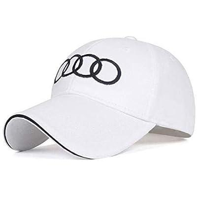 ANAISI Auto Sport Car Logo Adjustable Baseball Cap,Unisex Hat Travel Cap Car Racing Motor Hat for for Man,Women for Audi-White(Audi): Automotive