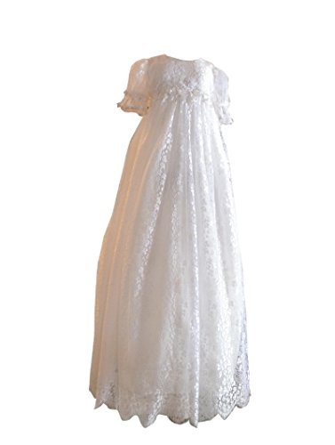 New Deve Newdeve White Soft Long Lace Beaded Puff Sleeves Floral Back Button Silk Bowknot Belt Baby Christening Baptism Gown (White, 0-3 Months) by New Deve