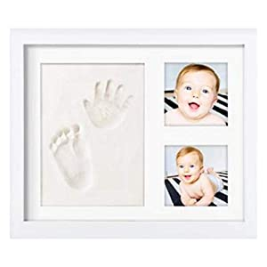NOVARENA Baby Handprint Kit & Footprint Photo Frame for Newborn Girls and Boys, Baby Photo Album for Shower Registry, Personalized Baby Gifts, Keepsake Box Decorations for Room Wall Nursery Decor Home