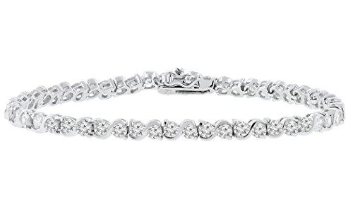 Cate & Chloe Ezra 7.5 18k Infinity Tennis Bracelet, White Gold Plated Bangle Bracelet with Unique Infinity Chain Design & CZ Stones, Sparkling Tennis Bracelets for Women