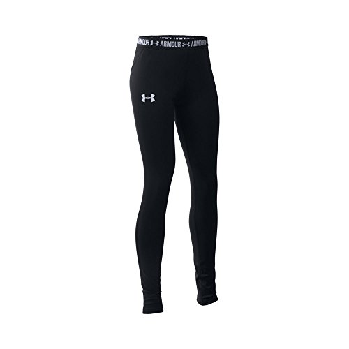 Under Armour Girls' HeatGear Armour Legging, Black/White, Youth X-Small