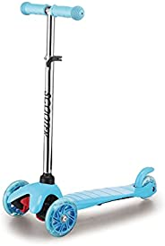 KUNOVA (TM) Blue Kick Scooter Suitable for 3-8 Years Old, PU Flashing Wheels, 3 Adjustable Heights, ABEC-7 Whe