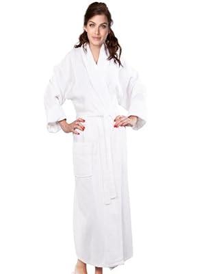 100% Cotton Waffle Shawl Robe Women's & Men's Velour Accents Waffle Shawl Bathrobe