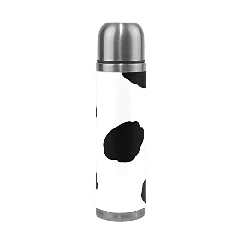 (Dalmatian Dog Water Bottle Stainless Steel Leak Proof Double Walled Vacuum Insulated Travel Coffee Mug Genuine Leather Cover Drink Cup 17 OZ )
