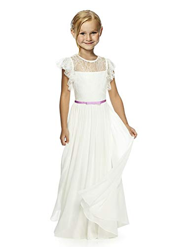 Wedding Pageant Flower Girl Dresses lace Girl Dress with Multi-Colored Bow Tie Sash 06 Lilac sash