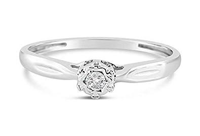 Bague femme en or blanc avec diamant solitaire naturel brillant