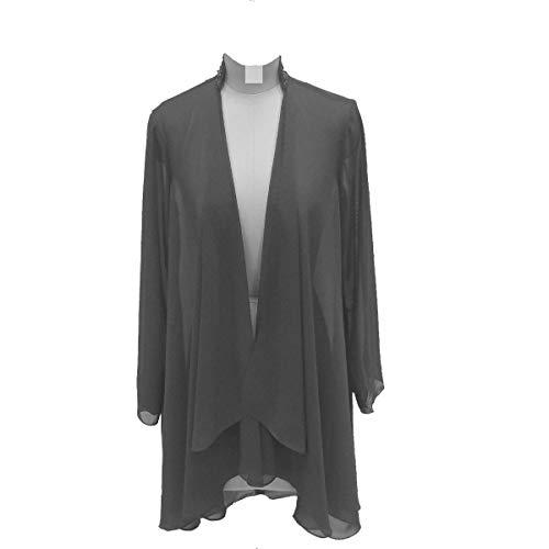 (Flybridal Women's Chiffon Shawl Wrap Coats Open Front Cardigan Bolero Shrug Jackets with Beading 16 Dark)