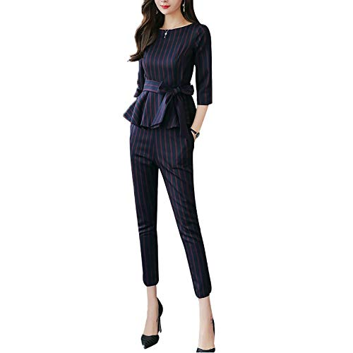 Kokoya 여성용 팬츠 드레스 설치 2 점 세트 비즈니스 정장 여성 정장 OL 통근 파티 초대 청첩장 피로연 사 회 큰 블라우스 + 팬츠 세트 봄 여름가을 / Kokoya Ladies Pants Dress Set 2 Pieces Business Suit Formal Dress OL Commuter Party Invite...