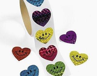 Roll of 100 Heart Stickers for Kids CraftsChildrens Craft Stickers