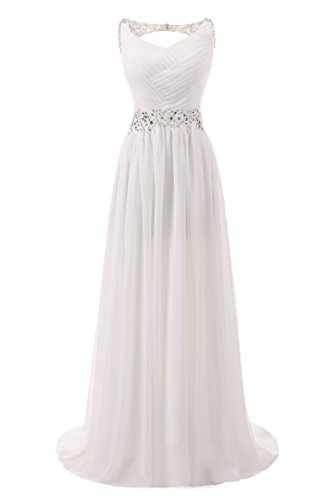 Abaowedding Women's Chiffon V Neck Shoulder Straps Long Wedding Evening Dress Ivory US 16