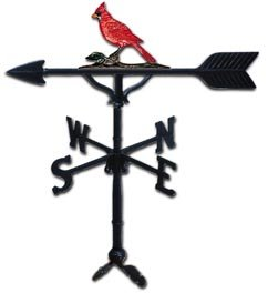 Weathervane Cardinal (Montague Metal Products 32-Inch Weathervane with Color Cardinal Ornament)