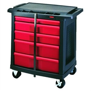- Rubbermaid FG773488BLA 5-Drawer Mobile Work Cart
