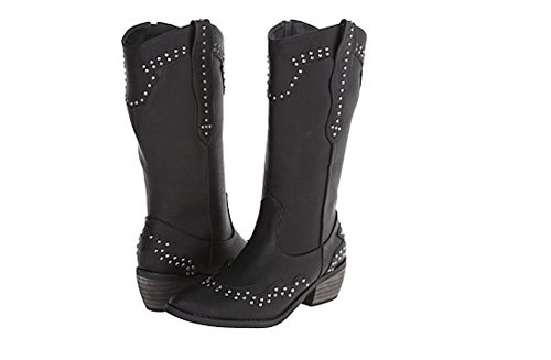 Womens Stitched Western Studded Stacked Heel Country Boots in Black and Brown Black
