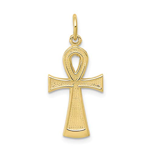 10k Yellow Gold Solid Flat-Backed Ankh Egyptian Cross Charm 27x13mm