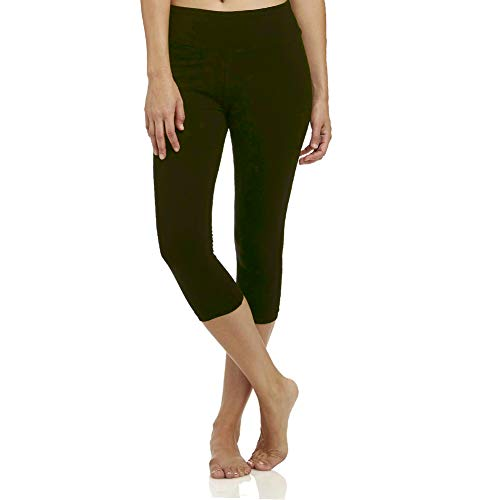 High Waisted Soft Capri Leggings for Women-Tummy Control and Elastic Opaque Slim-One/Plus Size 20+Design  (Olive, Plus Size (US 12-24))