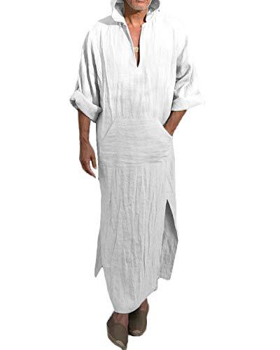 Taoliyuan Mens Abaya Thobe Linen Hooded Henley Shirt Arabic Kaftan Shirt Robe with Pocket