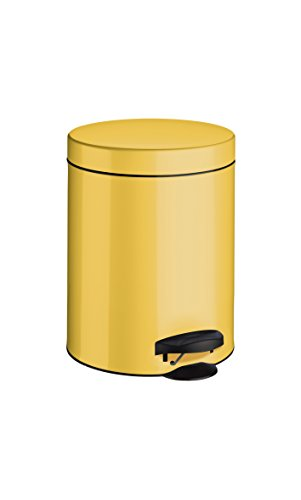 meliconi 14004708300Metal, Sheet Metal with Bucket, Bin, Yellow, 18.6x 18.6x 24.1cm (Yellow Trash Can For Bedroom)