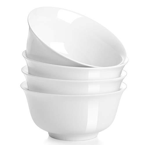 DOWAN 30 oz Porcelain Soup Bowl Set - Set of 4, White, Deep ()
