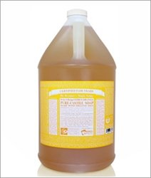 Dr. Bronner's - Pure-Castile Liquid Soap (Citrus, 1 Gallon) - Made with Organic Oils, 18-in-1 Uses: Face, Body, Hair, Laundry, Pets and Dishes, Concentrated, Vegan, Non-GMO 1 MADE WITH ORGANIC OILS and CERTIFIED FAIR TRADE INGREDIENTS: Dr. Bronner's Pure-Castile Liquid Soaps are made with over 90% organic ingredients. Over 70% of ingredients are certified fair trade, meaning ethical working conditions and fair prices. GOOD FOR YOUR BODY and THE PLANET: Dr. Bronner's liquid soaps are fully biodegradable and use all-natural, vegan ingredients that pose no threat to the environment. Our products and ingredients are never tested on animals and are cruelty-free. NO SYNTHETIC PRESERVATIVES, DETERGENTS, OR FOAMING AGENTS: Our liquid soaps are made with plant-based ingredients you can pronounce-no synthetic preservatives, thickeners, or foaming agents-which is good for the environment and great for your skin!