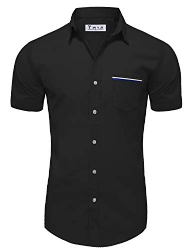 TAM WARE Mens Casual Chest Pocket Short Sleeve Button Down Shirts TWCMS06-BLACK-US M