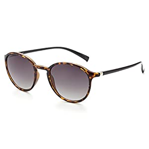 CAXMAN Women's Round Vintage Inspired Sunglasses, Brown Tortoise Frame and Gradient Green Lens, Small Size