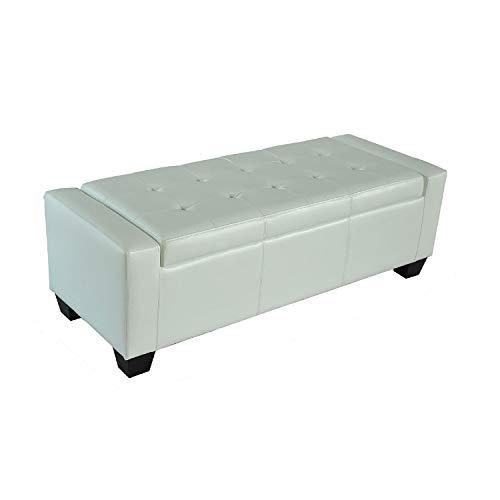 HOMCOM 51 Faux Leather Unique Tufted Storage Bench Ottoman – Cream White