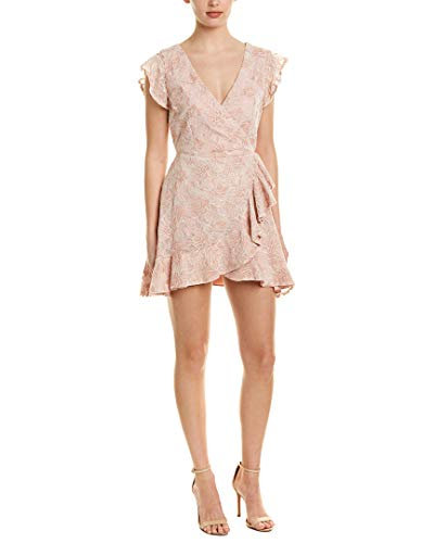 BB Dakota Women's RSVP Karlie Lace Ruffled Faux Wrap Dress, Pink Blossom, 4 ()