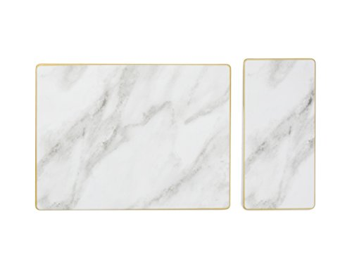 Sugar & Cloth Rectangular Marble Melamine Serving Trays, 2-Pieces