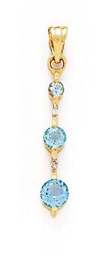 14 carats avec topaze bleu et diamants bruts Pendentif JewelryWeb